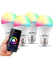 B.K.Licht Led-E27-wifi-lamp, 9 watt, 806 lumen, RGB, CCT, dimbaar, app-spraakbediening, iOS en Android, wifi-gloeilamp, slimme lamp