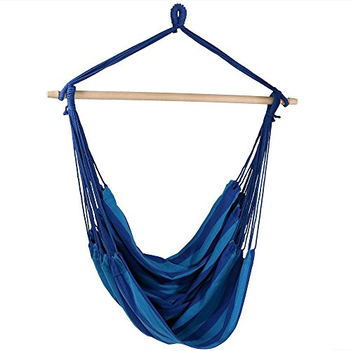 Sunnydaze Hanging Rope Hammock Chair Swing, Jumbo Extra Large Seat, Indoor or Outdoor Use, Beach Oasis