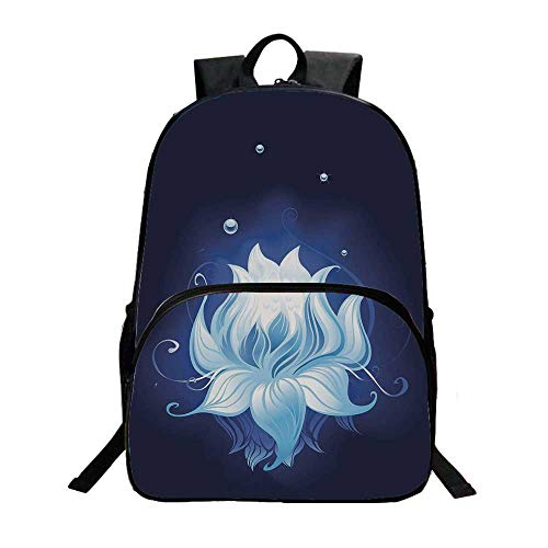Floral Fashionable Backpack,Zen Lotus with Dew Drops Reflected in Dark Water Background Yoga Spirit Image for Boys,11.8