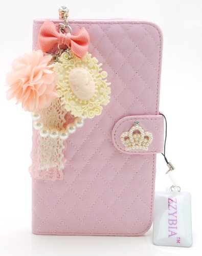 ZZYBIA® Galaxy Mega 6.3 QCV Leatherette Stand Case Card Holder Wallet with Romantic Victorian Dust Plug Charm for Samsung Galaxy Mega 6.3 I9200 I9205 (Pink)