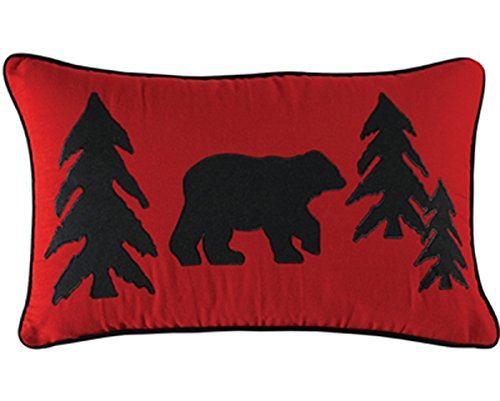Buffalo Check Collection 12X20 Bear and Tree Applique Accent (Bear Lodge Pillow)
