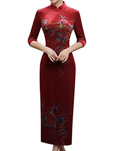 Velours Charmeuse Femmes Coolred Style Chinois Élégant De Cheongsam Robe Fendue 4