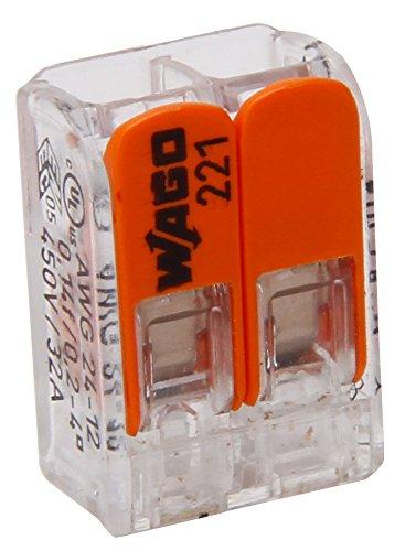 Kopp 33346415 WAGO Steckklemme 2-Fach mit Hebel für Flexible Drähte wiederöffenbar transparent/orange 1,5-2,5 mm² Inhalt 5 Stück, Grau
