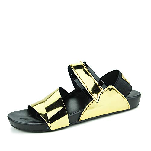 Yuchun Men Gold Leather Shoes Open Toe Sandals Slippers Fashion Casual Beach Sandals(Gold,7.5)