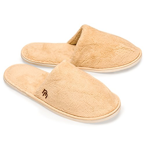 Yellow Mountain Imports Closed Toe Coral Fleece House Slippers, Pack of 6 Pairs - Large