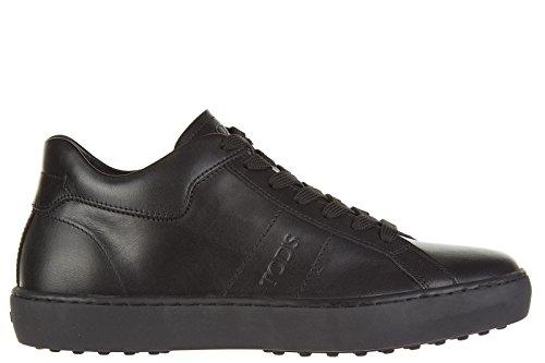 Tod's chaussures baskets sneakers homme en cuir allacciato fondo cassetta noir