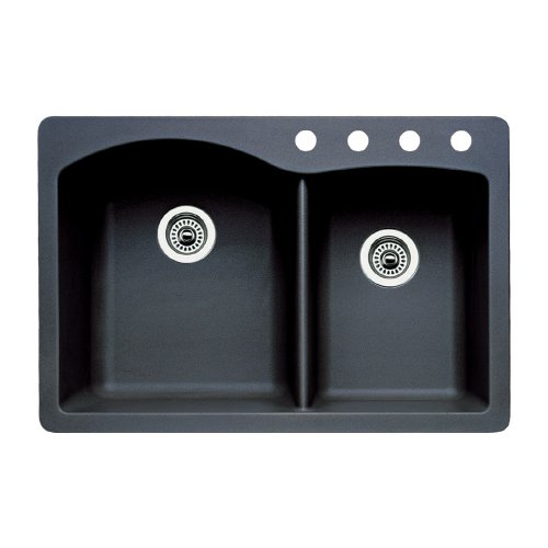 Blanco 440215-4 Diamond 4-Hole Double-Basin Drop-In or Undermount Granite Kitchen Sink, Anthracite