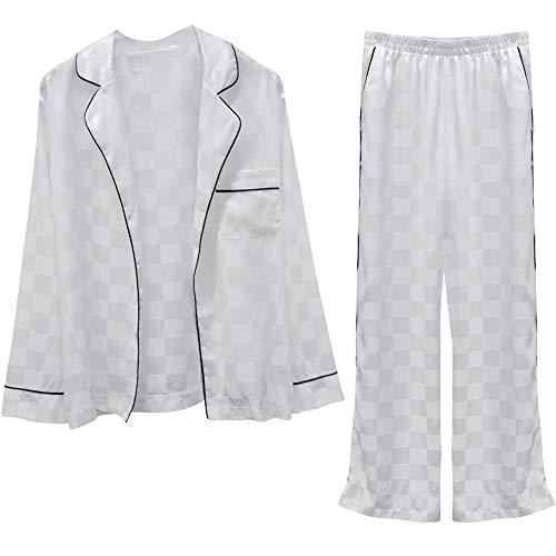 Mujer Sencillos Para Pantalones Manga De Larga Dos Seda nbsp;pijamas Piezas Photo Color E Mmllse Informales Otoño Y Primavera OB0nqw