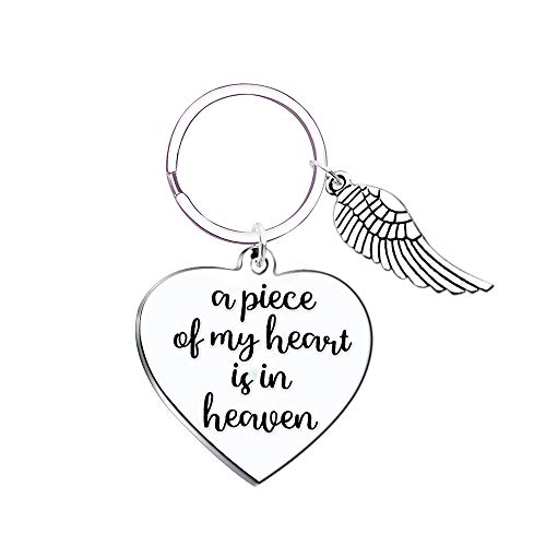 Angel Figurine Peace Wings (A Piece of my Heart is in Heaven Angel Wings Memorial Keychain Sympathy Gift)