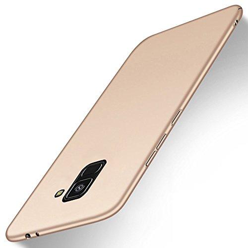 SMTR Samsung Galaxy A8 2018 Funda, Calidad Premium Cubierta Delgado Caso de PC Hard Gel Funda Protective Case Cover para Samsung Galaxy A8 2018 -Negro Oro