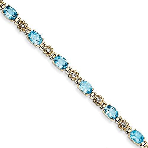 14k Blue Topaz/Diamond Bracelet, Diamond Cttw 0.1, Gem Cttw 11