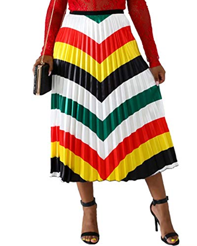 Women's Party Pleated Skirts Rainbow Stripes Printed Colorful Elastic Waist A-Line Long Swing Midi Skirt Stripes #1 M