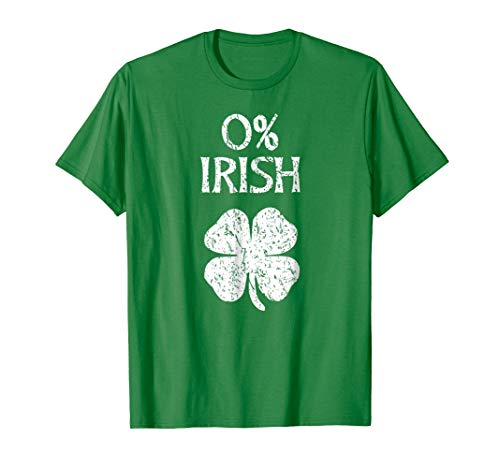 Mens 0% Irish Vintage St. Patrick Day T