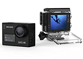 """SJCAM SJ6 Legend Action Camera with 2"""" Dual LCD Touch Screen, 4K Video, 1080p Resolution HD Camcorder, Black"""
