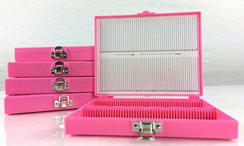 - Microscope Slide Storage Box, 100pcs Pink