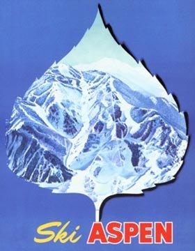 Aspen Ski Posters - Aspen Leaf Ski Poster, 1960's Vintage Poster, Size 20 x 30 inches