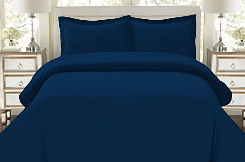 Hotel Luxury 3pc Duvet Cover Set-1500 Thread Count Egyptian Quality Ultra Silky Soft Top Quality Premium Bedding Collection -Queen Size Navy Blue (Dark Blue Comforter)