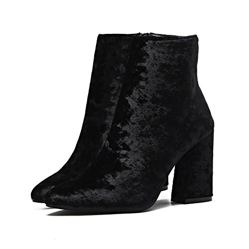 Gold Velvet Female Heeled Grade Black High HH High Pointed Boots qIt6xwBd