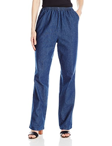 Chic Classic Collection Women's Cotton Pull-On Pant with Elastic Waist, Original Stonewash Denim, 12A