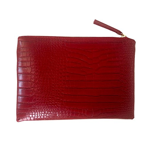 (NIGEDU Women Clutches Crocodile Grain PU Leather Envelope Clutch Bag)