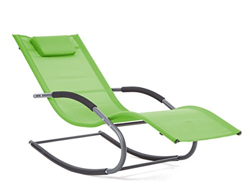 LUCKUP Outdoor Recliner Pool Chaise Patio Rocking Wave Lounger Chair with Pillow,Green
