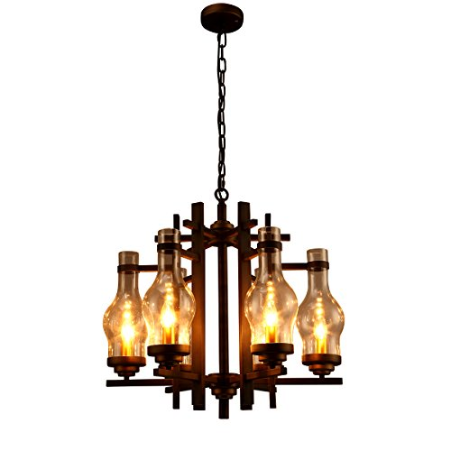 Windsor Home Deco, WH-61078, Vintage Chandelier with Glass Lamp Shades, 6 Lights Pendant Lamp, Candle Light Pendant Lamp. Chandelier for Dining Room, Black