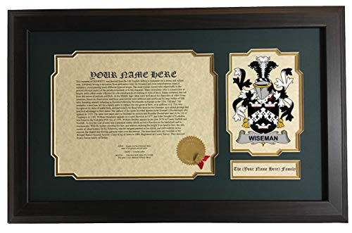 Wiseman - Coat of Arms and Last Name History, 14x22 Inches Matted and Framed