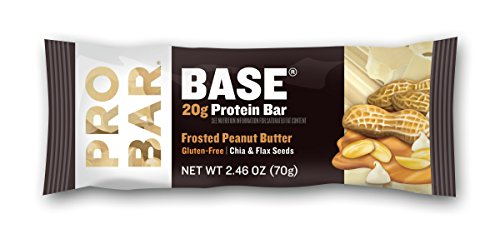 PROBAR - BASE 2.46 Oz Protein Bar, Frosted Peanut Butter, 12 Count - Organic, Gluten-Free, Plant-Based Whole Food Ingredients
