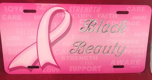 (Mirror Mania Pink Ribbon Personalized Custom License Vanity Plate Free Engraved Auto Car Tag License Plate Beautifully Designed and Specially Made, Free Expedited Shipping)