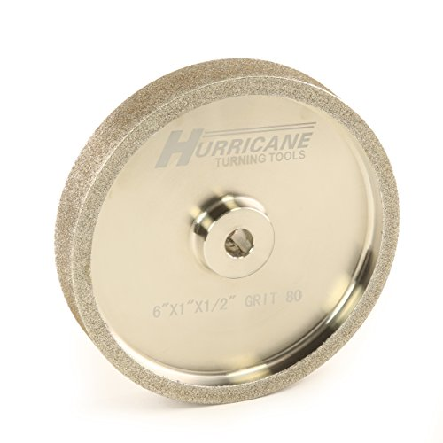 Hurricane 6'' CBN Grinding Wheel, 80 Grit, 1.0'' Wide, 1/2'' Bore, for Sharpening High Speed Steel Tools by Hurricane Turning Tools