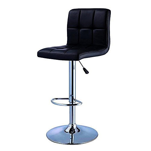 Bar Stool. Black Quilted Faux Leather & Chrome Adjustable Height Bar Stool. Best Upholstered Tufted Back Counter Breakfast Chair For Kitchen. Contemporary Furniture For Home Decor. (Breakfast Bar Stools Best)