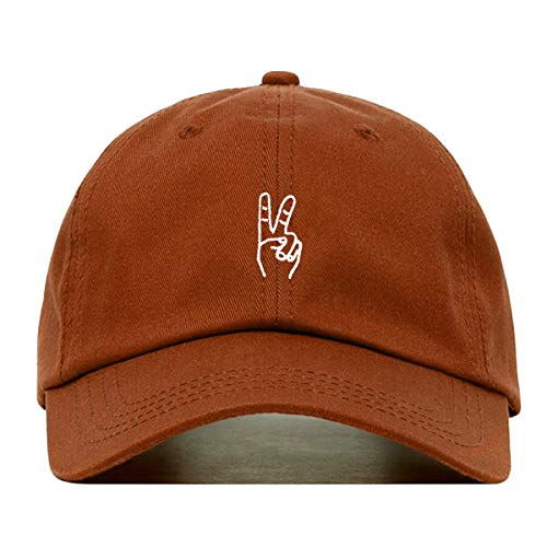 (Peace Out Sign Hand Baseball Hat, Embroidered Dad Cap, Unstructured Soft Cotton, Adjustable Strap Back (Multiple Colors) (Burnt Orange))