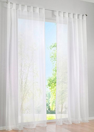 ZebraSmile 1 Panel Tab Top Sheer Drapery Window Treatment Curtain Sheer Curtain for Girls Room Sheer Drape Curtains Sheer Voile Curtains Drapery Sheers White 57(H) X55(W) in ()