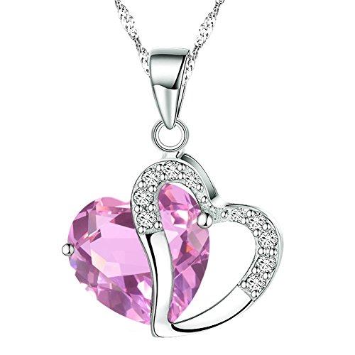 KATGI Fashion Austrian Crystals Heart Shape Pendant Necklace - Pink Heart Shape