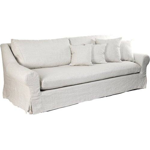 Coastal Beach Montauk Antique Linen White Sofa