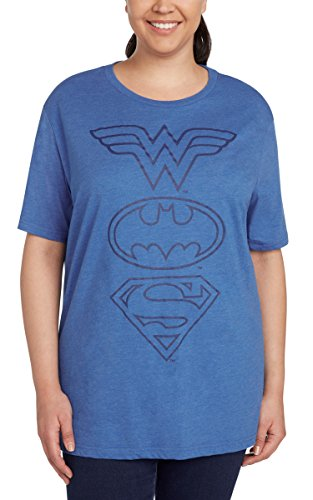 DC Comics Women's Plus Size T-Shirt Logo Print (Justice League, 2X) -