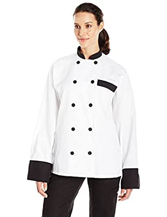 Uncommon Threads Unisex Newport Chef Coat, White/Black, X-Small