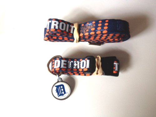 Hunter Detroit Tigers Pet Set Dog Leash Collar ID Tag Small