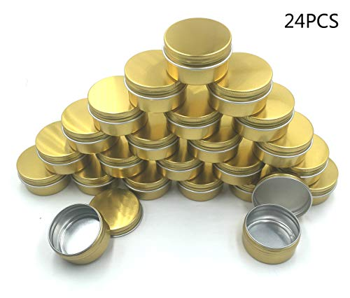 (JM-capricorns 24 Pcs 30 ml Gold Small Aluminum Round Lip Balm Tin Storage Jar Containers with Screw Cap for Lip Balm, Cosmetic, Candles or Tea(Gold) )