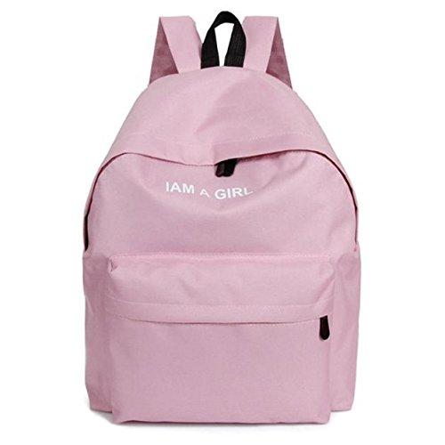 Malloom Unisex niños niñas lona mochila mochila escolar libro hombro bolsas (negro) Rosa