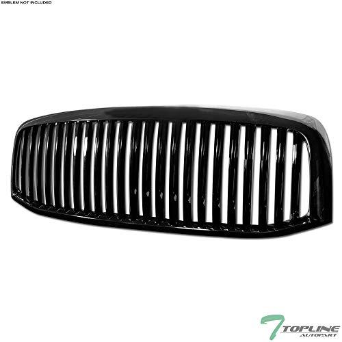 Topline Autopart Black Vertical Front Hood Bumper Grill Grille ABS For 06-08 Dodge Ram 1500/06-09 2500/3500