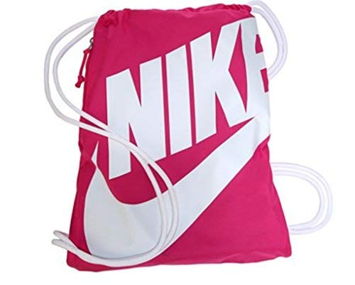 NIKE Heritage Drawstring Gymsack Backpack 400 Denier Sport Bookbag (Pink Power with White Signature Swoosh)