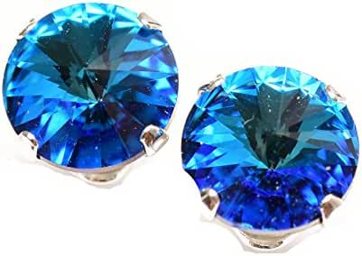 925 Sterling-silver stud earrings expertly made with Bermuda Blue crystal from SWAROVSKI for Women.