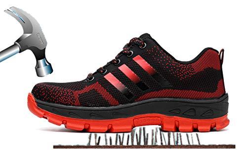 Construcción de Zapatillas Mujer Puntera Deportivos Industria de Botas con Trabajo Rojo Protección de S3 Zapatos 2 Unisex Acero Axcer Calzado de Trabajo de Seguridad Antideslizante Transpirable Hombre qTH0SHfnW