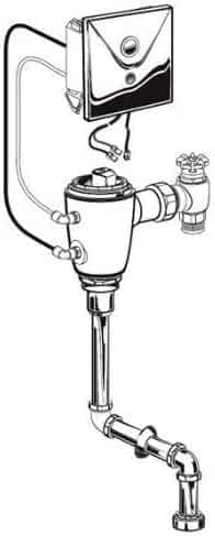 American Standard 6062.205.007 Concealed Flowise Selectronic 3/4-Inch Top Spud Urinal Flush Valve, AC Powered, 0.5 Gpf, Rough Brass