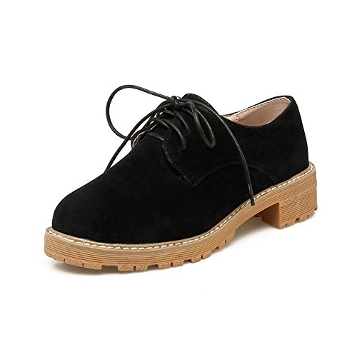Square Ladies Heels BalaMasa Platform Suede Shoes Oxfords Black Bandage xHqwCUdq