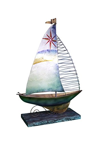 Capiz Sailboat Sculpture on Stand 12.5