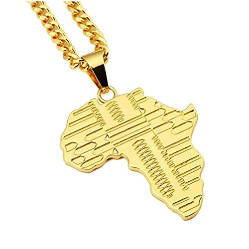 JAJAFOOK Mens Jewelry 18k Gold Plated Chain Africa Map Hip Hop