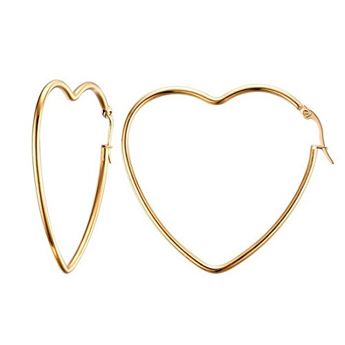 (MengPa Titanium Steel Heart Hoop Earrings for Women in Gold Color G3298)