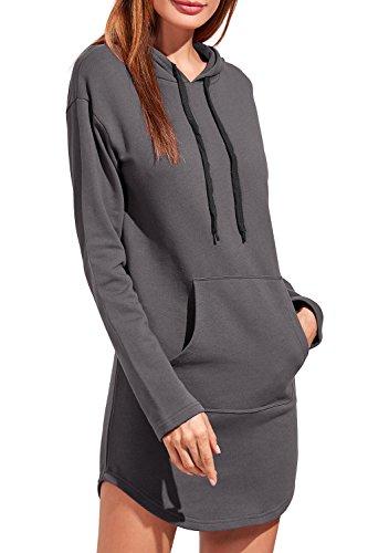 Pullover Slim Grey Capucha Sweatshirt Cordon Casual Con Vestido La Con Mujer Mini Solid Ufv6qS